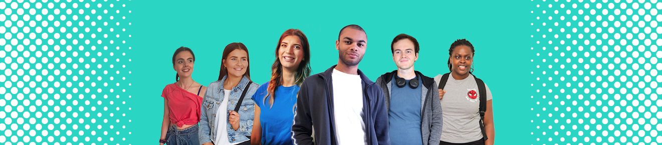 Six students with aqua background