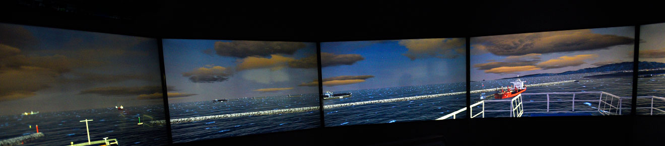 Image of the screens that make up the ship simulator at the LJMU Maritime Centre.