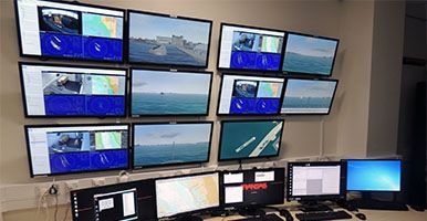 Screens in the instructors room - LJMU Maritime Centre