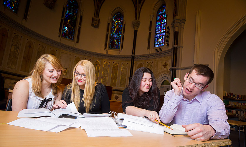 LJMU students studying in chapel