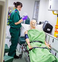 Paramedic student in simulation ambulance