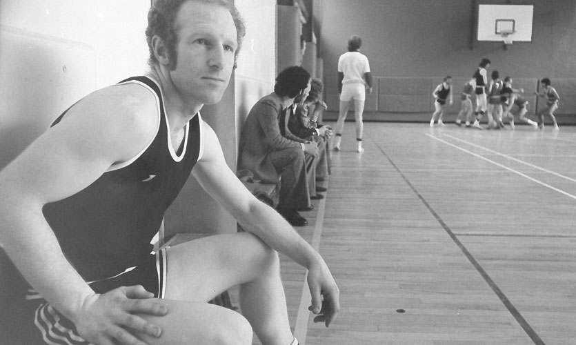 Frank Sanderson on the basketball court, 1970s