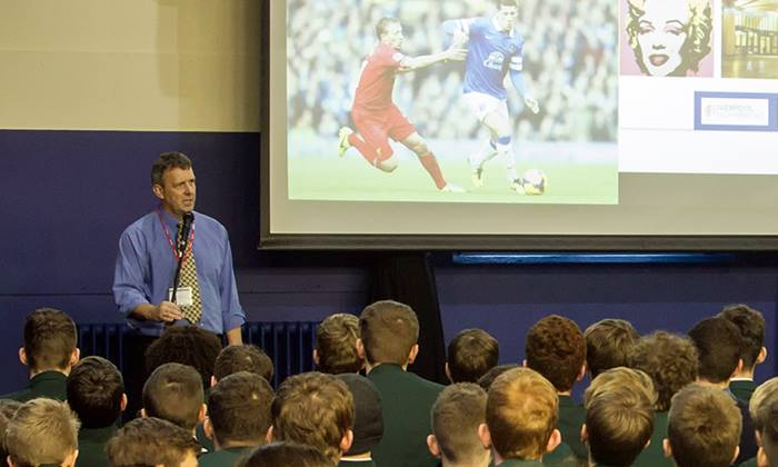 Keith George talks at Sandbach School