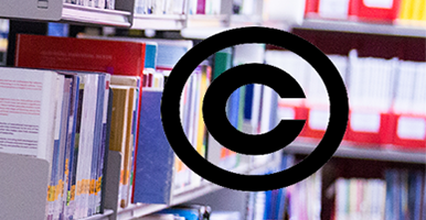 Image of the copyright logo against a background of books on shelves