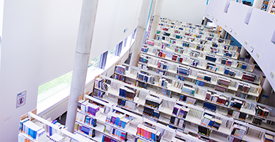 Overhead view of shelves containing books in a library