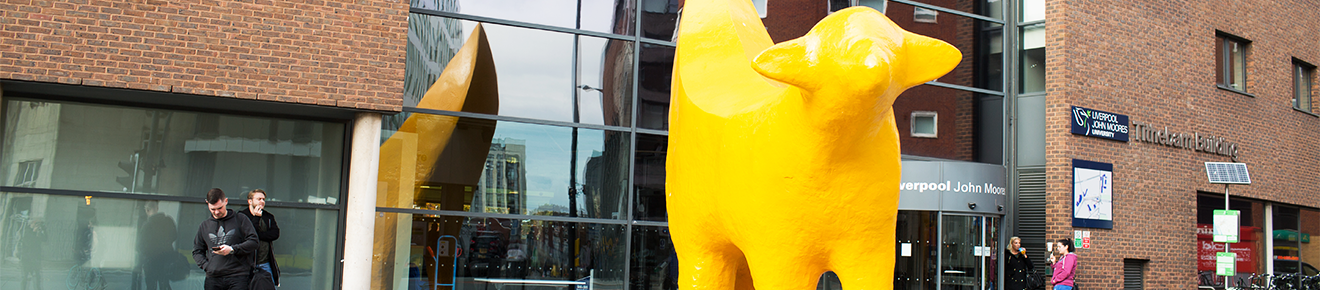 Image of the Superlambanana statue outside the entrance to the Avril Robarts library