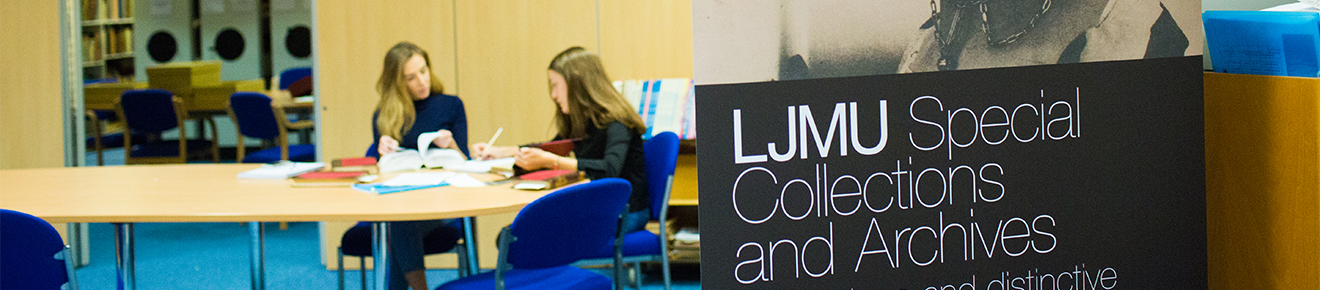 Image of a banner saying special collections and archives with students studying in the background