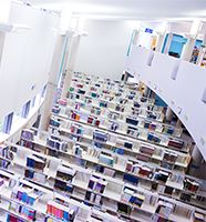 Image of books and shelves taken from above