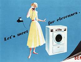 Advert for the home and away collection showing a woman on the phone next to a washing machine