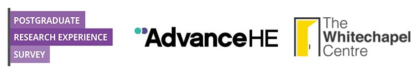 Postgraduate Research Experience Survey, Advance HE and The Whitechapel Centre logos