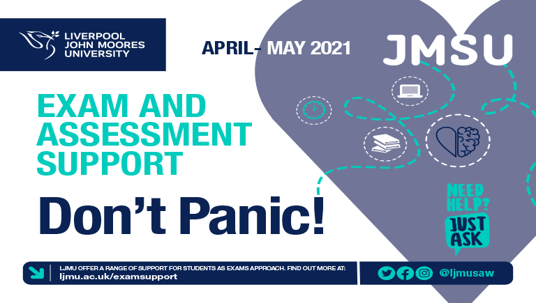 LJMU/JMSU exam and Assessment infographic - Don't panic